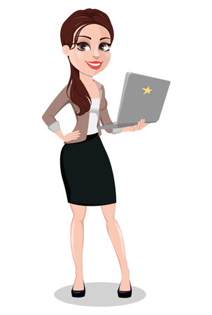 Business woman in casual clothes. Beautiful businesswoman cartoon character holding laptop. Vector illustration. Illustration