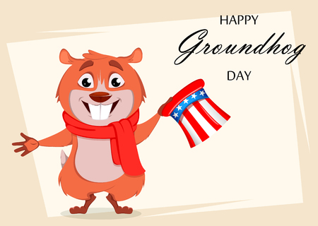 Happy Groundhog day. Greeting card with funny marmot holding Uncle Sam hat. Vector illustration on white background Illustration