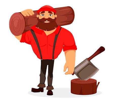 Lumberjack. Handsome logger holding big log. Cartoon character. Vector illustration on white background. Illustration