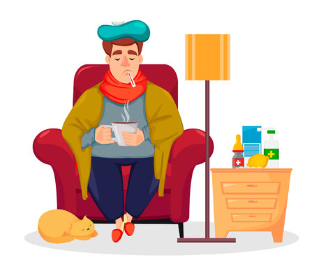 Sick man sitting in armchair at home and drinking hot beverage. Ill guy is being treated for the seasonal flu at home. Cartoon character. Vector illustration on white background