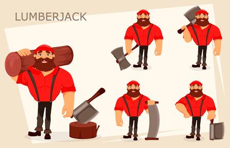Personaje de dibujos animados de leñador, conjunto de cinco poses. Leñador guapo. Ilustración vectorial sobre fondo blanco.