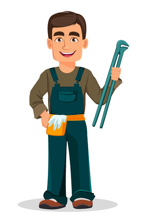 Professional plumber in uniform holds work tool. Handsome cartoon character. Vector illustration on white background