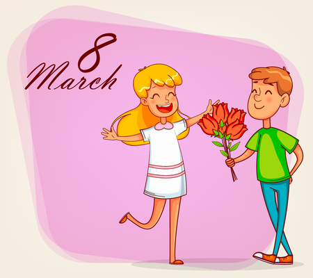 Happy International Women's Day greeting card. Boy gives a bouquet of tulips to his girlfriend. Cartoon characters. Vector illustration on pink background