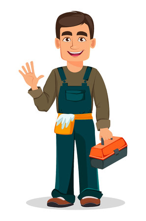 Professional plumber in uniform holds toolbox. Handsome cartoon character. Vector illustration on white background Vector Illustration
