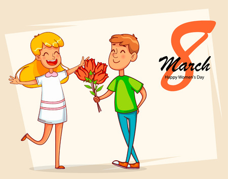 Happy International Womens Day greeting card. Boy gives a bouquet of tulips to his girlfriend. Cartoon characters. Vector illustration Illustration