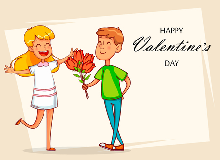 Valentines Day greeting card with funny cartoon characters. Boyfriend gives a bouquet of tulips to his beloved. Vector illustration on light background