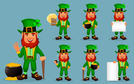 Saint Patrick day. Cute funny cartoon character Leprechaun, set of seven poses. Great design for any purposes. Vector illustration