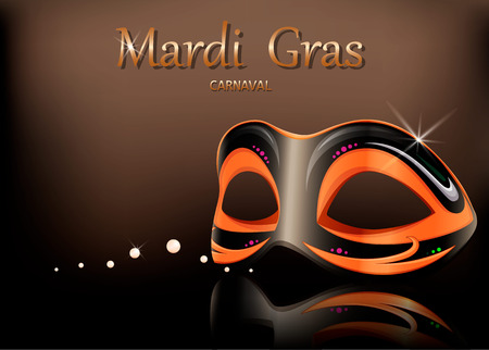Mardi Gras carnival mask. Greeting card with mask for traditional festival of Mardi Gras. Vector illustration.