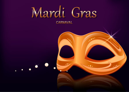 Mardi Gras carnival mask. Greeting card with golden mask for traditional festival of Mardi Gras. Vector illustration on purple background