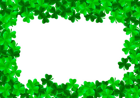 Saint Patrick day background with green bright leaves of trefoil clover and white blank square in center. Luck and success concept. Vector illustration