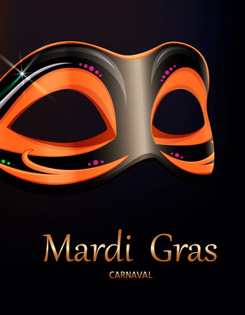 Mardi Gras carnival mask. Greeting card with beautiful mask for traditional festival of Mardi Gras. Vector illustration on black background