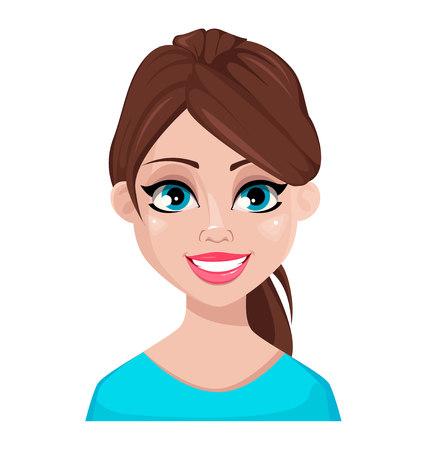 Expresión facial de mujer en blusa azul, feliz. Emoción femenina. Hermoso personaje de dibujos animados. Ilustración de vector aislado sobre fondo blanco. Ilustración de vector