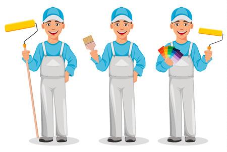 Homme peintre, ensemble de trois poses. Personnage de dessin animé de décorateur tenant un rouleau à peinture, tenant un pinceau et tenant un guide de palette de couleurs. Illustration vectorielle sur fond blanc. Vecteurs