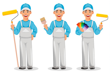 Malermann, Satz von drei Posen. Dekorateur-Cartoon-Figur, die Farbroller hält, Pinsel hält und Farbpalettenführer hält. Vektorillustration auf weißem Hintergrund. Vektorgrafik