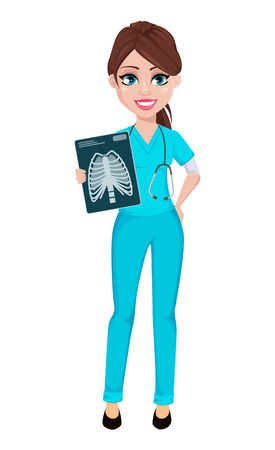 Medical doctor woman holding x-ray image. Medicine, healthcare concept. Beautiful cartoon character. Vector illustration.