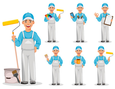 Painter man, set of seven poses. Decorator cartoon character. Vector illustration on white background.