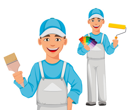 Uomo pittore, set di due pose. Personaggio dei cartoni animati decoratore che tiene il pennello e tiene il rullo di vernice e la guida alla tavolozza dei colori. Illustrazione vettoriale su sfondo bianco.