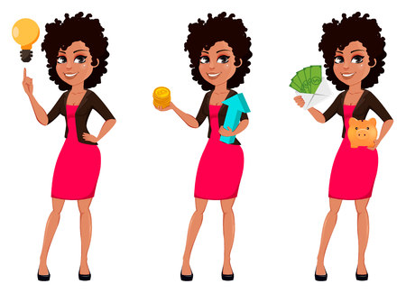 Jonge Afro-Amerikaanse zakenvrouw in casual kleding, set van drie poses. Cartoon karakter zakenvrouw met een goed idee, met bitcoins en met geld. vector illustratie