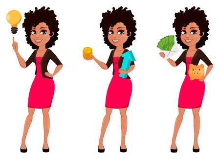 Joven mujer de negocios afroamericana en ropa casual, conjunto de tres poses. Empresaria de personaje de dibujos animados con una buena idea, con bitcoins y con dinero. Ilustración vectorial