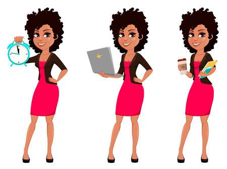 Joven mujer de negocios afroamericana en ropa casual, conjunto de tres poses. Empresaria de personaje de dibujos animados con reloj despertador, portátil y café. Ilustración vectorial