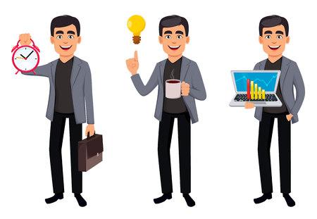 Personaje de dibujos animados de hombre de negocios, establece tres poses. Apuesto hombre de negocios que sostiene el reloj de alarma, que sostiene la computadora portátil y que tiene una buena idea. Ilustración vectorial