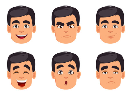 Face expressions of man with. Different male emotions set. Handsome cartoon character. Vector illustration isolated on white background. Ilustracje wektorowe