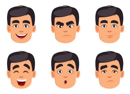 Visage expressions de l'homme avec. Ensemble d'émotions masculines différentes. Beau personnage de dessin animé. Illustration vectorielle isolée sur fond blanc. Vecteurs