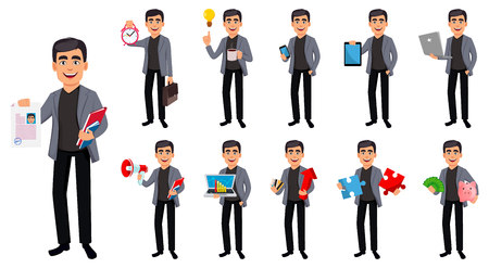 Business man cartoon character, set of eleven poses. Handsome businessman. Vector illustration on white background