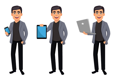 Business man cartoon character, set three poses. Handsome businessman holding smartphone, holding tablet and holding laptop. Vector illustration