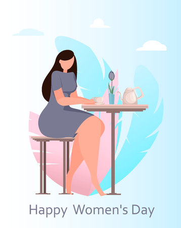 International Women's Day greeting card with cute lady sitting at the table in cafe. Funny woman cartoon character for flyer, poster, invitation and other. Vector illustration Illustration