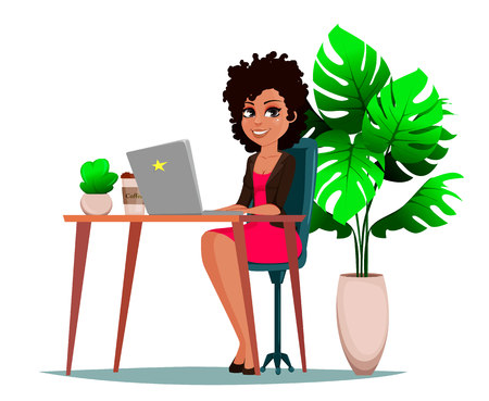 Beautiful business woman sitting at the table with laptop, plant and coffee. Female manager is working on a laptop at her workplace. Business startup concept. Vector illustration.