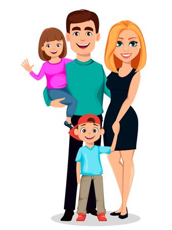 Familia feliz. Padre, madre, hijo e hija. Personajes de caricatura. Padres e hijos. Ilustración vectorial
