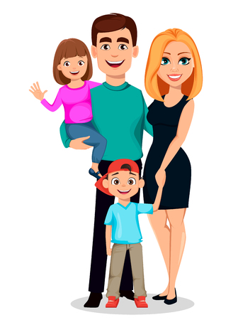 Happy family. Father, mother, son and daughter. Cartoon characters. Parents and children. Vector illustration