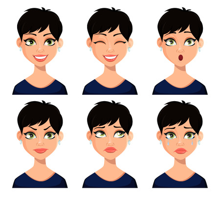 Set of facial expressions of beautiful woman with short haircut. Beautiful lady cartoon character. Pack of emotions. Vector illustration