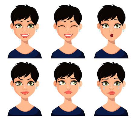 Zestaw wyrazu twarzy pięknej kobiety z krótką fryzurą. Postać z kreskówki piękna pani. Pakiet emocji. Ilustracja wektorowa