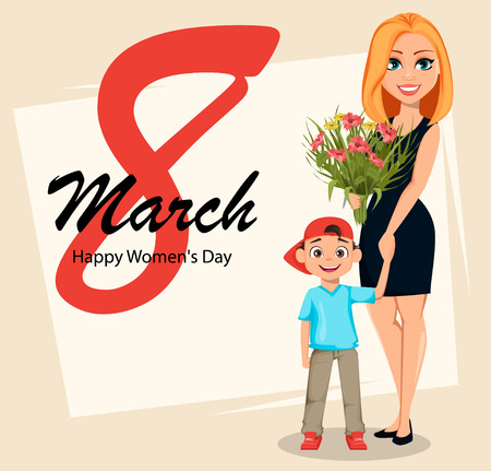 Postcard to the 8th of March (Womens Day). Beautiful woman with a bouquet of flowers holds hand of her little son. Vector illustration