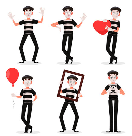 Mime cartoon character performing pantomime, set of six poses. Flat style. Usable for April Fools Day. Vector illustration isolated on white background. 向量圖像
