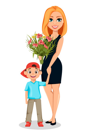 Postcard to the 8th of March (Womens Day) or Mothers day. Beautiful woman with a bouquet of flowers holds hand of her little son. Vector illustration on white background  イラスト・ベクター素材