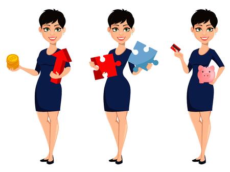 Glückliche moderne Geschäftsfrau, Satz von drei Haltungen. Schöne Dame-Geschäftsfrau-Cartoon-Figur, die Bitcoins hält, Puzzle hält und Kreditkarte und Sparschwein hält. Vektor-Illustration Vektorgrafik