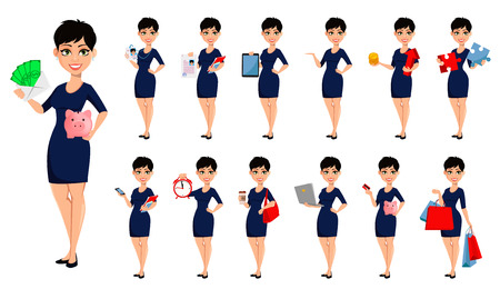 Happy modern business woman with short haircut, set of thirteen poses. Beautiful lady businesswoman. Attractive cartoon character for any purposes. Vector illustration