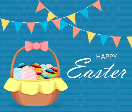 Happy Easter greeting card. Basket full of colored eggs. Easter, spring concept. Vector illustration for holiday.