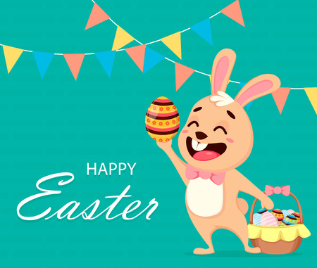 Happy Easter greeting card. Cute rabbit cartoon character holding colored egg and standing near basket. Easter, spring concept. Vector illustration for holiday.