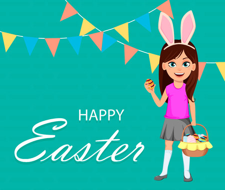 Happy Easter greeting card with child. Cute girl wearing bunny ears. Funny cartoon character holding basket full of eggs and egg in hand. Vector illustration