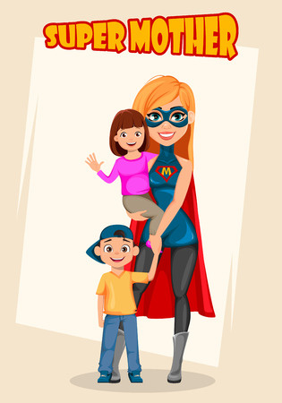 Super mother woman superhero. Concept of woman wearing superhero costume. Cartoon character standing with her son and daughter. Vector illustration