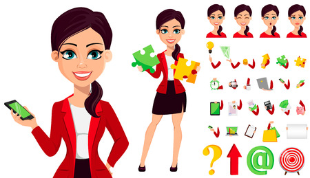 Businesswoman cartoon character. Confident young manager. Pack of body parts, emotions and things. Build your own design. Vector illustration.