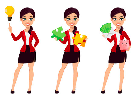 Businesswoman cartoon character, set of three poses. Confident young manager having a good idea, holding puzzle and holding envelope with money. Vector illustration. Illustration