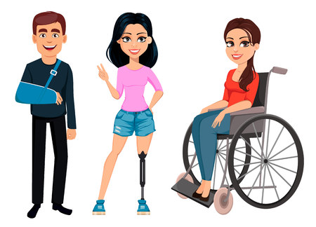 People with disabilities. Men and women with incapability. Man with broken arm, girl with artificial leg and girl in a wheelchair. Vector illustration.