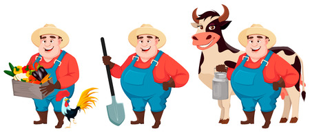 Fat farmer, agronomist, set of three poses. Funny gardener man cartoon character holding vegetables, holding shovel and standing near cow. Vector illustration