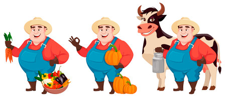 Fat farmer, agronomist, set of three poses. Funny gardener man cartoon character holding fresh carrots, holding pumpkin and standing near cow. Vector illustration