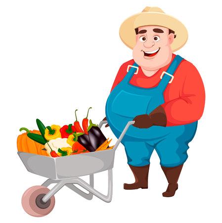 Fat farmer, agronomist. Funny gardener man cartoon character holding wheelbarrow with vegetables. Vector illustration isolated on white background Vetores
